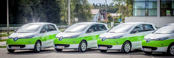The four new Renault ZOE electric cars