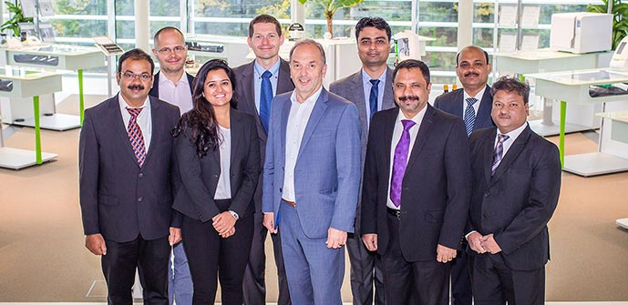 From left to right:  Bharaneedharan (In House Engineer), Klaus Maier (Member of the W&H Management Board), Parimala Murthy (Manager Operations), Bastian Diebald (W&H Sales and Marketing Director), Peter Malata (W&H Managing Director), Anshul Gupta (Regional Sales Manager – North), Raghavan Radhakrishnan (General Manager of W&H India and Planmeca India), Sandip Bhattarcharya (Regional Sales Manager – East), Deepak Mahale (Regional Sales Manager – West).