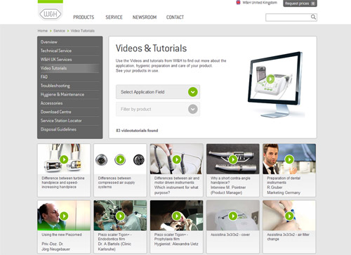 wide range of videos and tutorials focusing on dental application