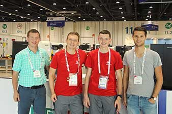 Stefan Rausch, W&H instructor, Dieter Geisberger, WorldSkills expert in CNC turning, Marco Kern, Austrian national champion and WorldSkills participant, and Alexander Wagner, Austrian national champion 2014, WorldSkills participant 2015 in São Paulo and W&H machining technician.